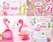 Flamingo Printable Birthday Party Printables, Pink tropical flamingo, editable printable party decoration package, INSTANT DOWNLOAD