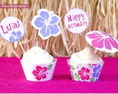 Luau Cupcake Toppers Printable, Luau Cupcake Wrappers, Hawaiian Cupcake Toppers, Luau Party, Luau Drink Umbrellas, INSTANT DOWNLOAD