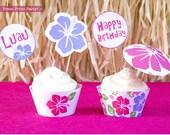 Luau Cupcake Toppers Prin...