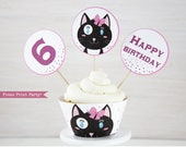Cat Party Cupcake Toppers and Wrapper Printable, Cat Cupcake Wrapper, Cat Cupcake Toppers, Kitten birthday, Kitty Cat birthday, Girl Party