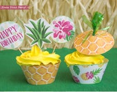 Pineapple Cupcake Wrappers Printable, Hawaiian Party Decor Printables, Luau Cupcake Toppers, Party like Pineapple, INSTANT DOWNLOAD