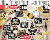 New Year's Photo Booth Props Printable, Gold and Black, New Year's Eve Decor, Photography, Edit the year! INSTANT DOWNLOAD