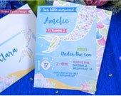Mermaid Invitation, Watercolor Mermaid Birthday Invitation, Under the Sea, Mermaid Party Invite, Mermaid Tail, Party Ideas, INSTANT DOWNLOAD
