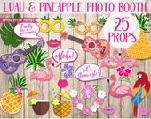 Luau Party Decorations Printable Props, Luau Photo Booth Props, Hawaiian Party Decorations, Moana, Pineapple, Flamingo, INSTANT DOWNLOAD