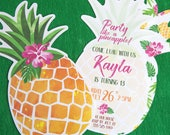 Party Like a Pineapple Invitation Printable, Birthday Luau Invitation, Hawaiian Theme Party Invitation, Ananas, Tropical, INSTANT DOWNLOAD