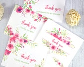 Thank You Cards Printable Template Set, Pink Florals, 4 designs, 100% editable, w. Envelope Template, Baby Shower, Wedding, INSTANT DOWNLOAD