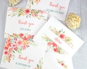 Thank You Cards Printable Template Set, Peach Florals, 4 designs, 100% editable, w. Envelope Template, Shower, Wedding, INSTANT DOWNLOAD