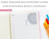 2019 Task Tracker Printable, Monthly Goal Tracker, Daily Task List, Mandala Coloring Page, Bullet Journal & Planners, BUJO, INSTANT DOWNLOAD