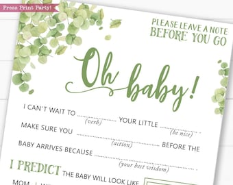 Baby Shower Mad Libs, Printable Baby Shower Games, Advice Card, Baby Shower Activity, Boy, Girl, Eucalyptus, Oh Baby, INSTANT DOWNLOAD