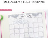 2019 Calendar Printable, Monthly Calendar, Mandala Coloring Calendar Pages, Bullet Journal Calendar & Planners, BUJO, INSTANT DOWNLOAD