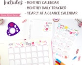 2019 Calendar Printable Set, Whimsy Design, Bullet Journal & Planners, BUJO Monthy Planner and Task Tracker, INSTANT DOWNLOAD