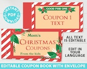 EDITABLE Christmas Coupon Book Printable Template, Fun Gift Idea, Blank Coupon Book, diy Last Minute Funny Gift, INSTANT DOWNLOAD