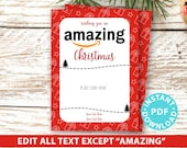 """EDITABLE Amazon Gift Card Holder Christmas Printable Template, 5""""x7"""", Wishing You an Amazing Christmas, red gifts, INSTANT DOWNLOAD"""