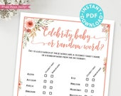 Celebrity Baby Shower Game Printable, Peach Flowers Shower Game Template, Funny Baby Shower Activities, Rustic, Baby Girl, INSTANT DOWNLOAD
