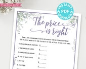 The Price is Right Baby Shower Game Printable,Greenery & Purple Baby Shower Game Template, Funny Activity, Rustic, Girl, INSTANT DOWNLOAD