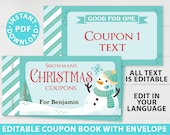 EDITABLE Christmas Coupon Book Printable Template, From Santa Gift Idea, Editable Blank Coupons, Last Minute Gift for Kids, INSTANT DOWNLOAD