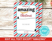 "EDITABLE Amazon Gift Card Holder Christmas Printable Template, 5""x7"", Christmas appreciation, Teacher, Neighbor, Stripes, INSTANT DOWNLOAD"