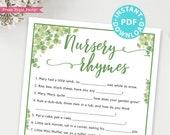 Eucalyptus Nursery Rhymes Baby Shower Game Printable, Baby Shower Game Template, Funny Baby Shower Activities, Rustic, INSTANT DOWNLOAD