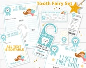Editable Tooth Fairy Letter Printable Kit & Receipts Boy Blue, Certificate, Baby Teeth Chart, Lost Tooth Fairy Envelope, INSTANT DOWNLOAD