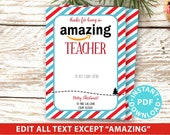 """EDITABLE Amazon Gift Card Holder Christmas Printable Template, 5x7"""", Thank you for being an Amazing Teacher, Friend, Stripe INSTANT DOWNLOAD"""