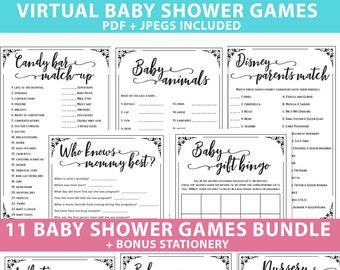 Virtual Baby Shower Games Printable Pack, Games Bundle, Unique  & Funny Baby Shower Activities, Rustic, girl, boy, Reveal, INSTANT DOWNLOAD