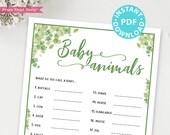 Eucalyptus Baby Animals Baby Shower Game Printable, Baby Shower Game Template, Funny Baby Shower Activities, Girl, Boy, INSTANT DOWNLOAD