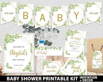 Baby Shower Invitation Template Bundle, Editable Invitation & Decorations Printables, Eucalyptus Green, INSTANT DOWNLOAD