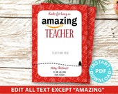 "EDITABLE Amazon Gift Card Holder Christmas Printable Template, 5""x7"", Thank you for being an Amazing Teacher, Friend, gifts INSTANT DOWNLOAD"