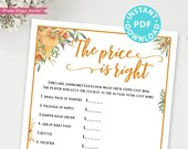 Little Pumpkin The Price is Right Baby Shower Game Printable, Rustic Fall Baby Shower Game Template, Funny Activities, INSTANT DOWNLOAD