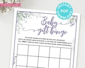 Baby Gift Bingo Baby Shower Game Printable, Greenery & Purple Baby Shower Game Template, Funny Baby Shower Activity, Girl, INSTANT DOWNLOAD