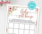 Baby Gift Bingo Baby Shower Game Printable, Peach Flowers Baby Shower Game Template, Funny Baby Shower Activities, Girl, INSTANT DOWNLOAD
