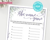 ABC Baby Shower Name Game Printable, Greenery & Purple Baby Shower Game Template, Baby Shower Activities, Baby Girl, INSTANT DOWNLOAD