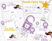 Editable Tooth Fairy Letter Printable Kit & Receipts Purple w. Black Fairy, Certificate,Teeth Chart, Lost Tooth Envelope, INSTANT DOWNLOAD