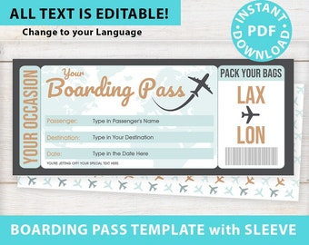 Boarding Pass Template w. Holder Editable Text Printable, Vacation Surprise Trip Gift Voucher Flight Airline Ticket, Green, INSTANT DOWNLOAD