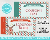 EDITABLE Christmas Coupon Book Printable Template, For Kids Gift Idea, Fun Blank Coupons, diy Stocking Stuffer, INSTANT DOWNLOAD