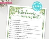 Eucalyptus Who Knows Mommy Best Baby Shower Game Printable, Baby Shower Game Template, Funny Baby Shower Activities, INSTANT DOWNLOAD