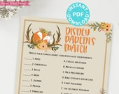Woodland Theme Disney Parents Match Baby Shower Game Printable, Forest Animals Baby Shower Game Template, Rustic Fox, INSTANT DOWNLOAD