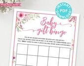 Baby Gift Bingo Baby Shower Game Printable, Pink Flowers Baby Shower Game Template, Funny Baby Shower Activities, Girl, INSTANT DOWNLOAD