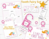 Editable Tooth Fairy Letter Printable Kit & Receipts, Certificate, Baby Teeth Chart, Door Hanger Lost Tooth Fairy Envelope, INSTANT DOWNLOAD