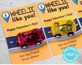 Car Valentine card, I Wheelie Like You, Kids Valentine, Printable and Editable - Boy Valentines - Last Minute Valentine, INSTANT DOWNLOAD