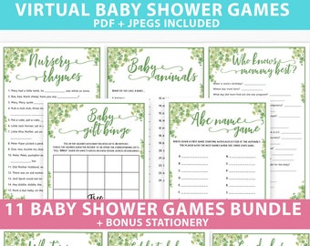 Virtual Baby Shower Games Bundle Printable, Eucalyptus Games Pack ideas, Unique & Funny Baby Shower Activities, Girl, Boy, INSTANT DOWNLOAD