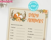 Woodland Theme Baby Animals Baby Shower Game Printable, Baby Animal Name Game Template, Forest Animals, Fox, Deer, Fall, INSTANT DOWNLOAD