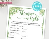 Eucalyptus The Price is Right Baby Shower Game Printable, Baby Shower Game Template, Funny Activities, Gender Neutral, INSTANT DOWNLOAD