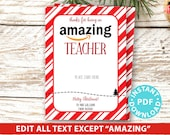 "EDITABLE Amazon Gift Card Holder Christmas Printable Template, 5x7"", Thank you for being an Amazing Teacher, Friend, Stripe INSTANT DOWNLOAD"