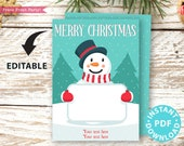 "EDITABLE Christmas Gift Card Holder Printable Template, 5""x7"", Merry Christmas, Snowman, Edit Holiday & Name, INSTANT DOWNLOAD"
