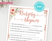 Nursery Rhymes Baby Shower Game Printable, Peach Flowers Baby Shower Game Template, Funny Baby Shower Activities, Rustic, INSTANT DOWNLOAD