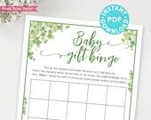 Eucalyptus Baby Gift Bingo Baby Shower Game Printable, Baby Shower Game Template, Funny Baby Shower Activities, Girl, Boy, INSTANT DOWNLOAD