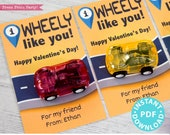I Wheely Like You Kids Valentine Card Printable, I Wheelie Like You Gift Tag For Friend, School, Pull Back Cars, No Candy, INSTANT DOWNLOAD