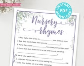 Nursery Rhymes Baby Shower Game Printable, Greenery & Purple Baby Shower Game Template, Funny Baby Shower Activity, Rustic, INSTANT DOWNLOAD