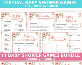 Virtual Baby Shower Games Printable Bundle, Peach Flowers, Unique Baby Shower Games Pack Ideas and Activities, INSTANT DOWNLOAD